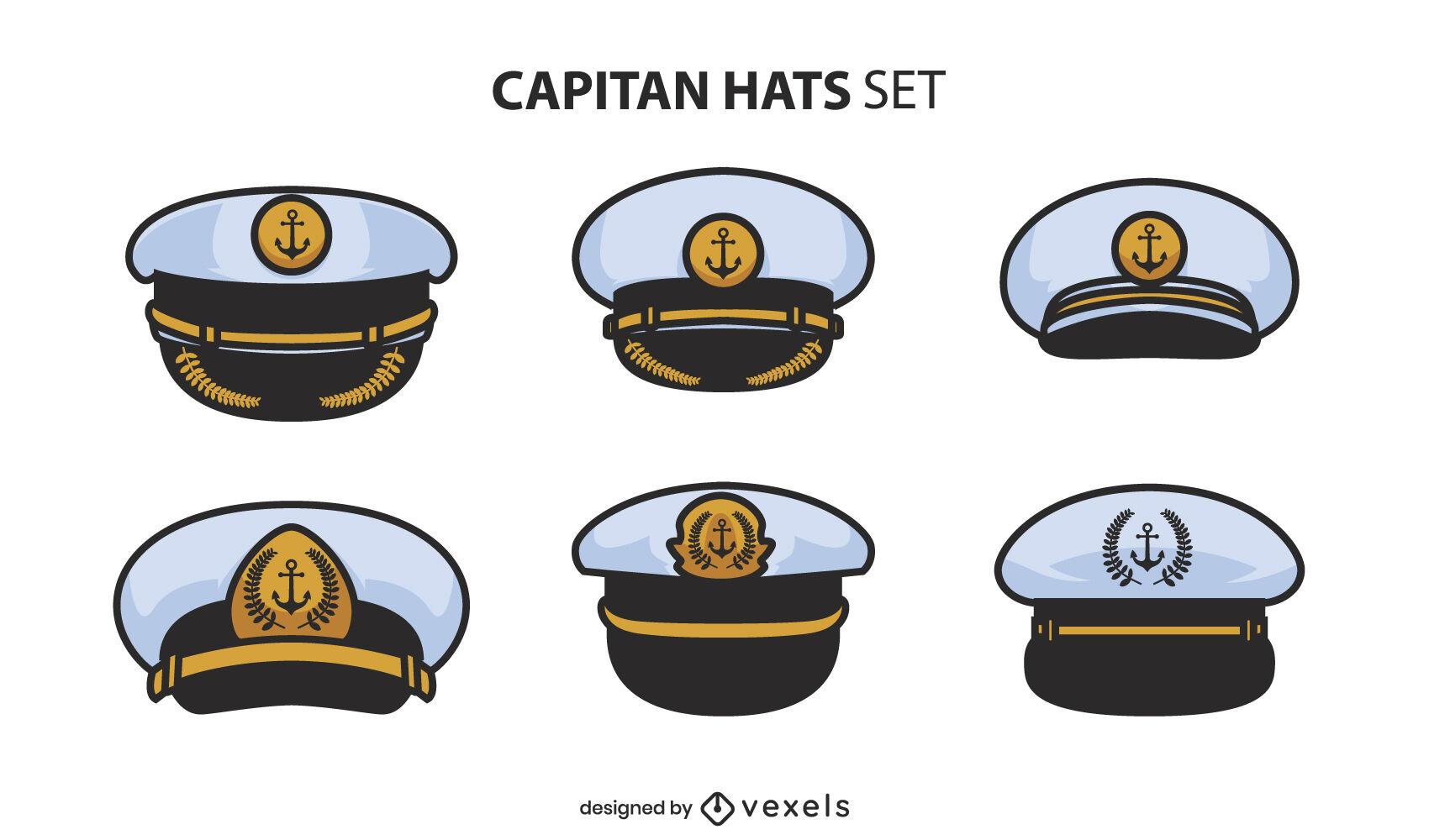 Capitán conjunto de sombreros de trazo de color
