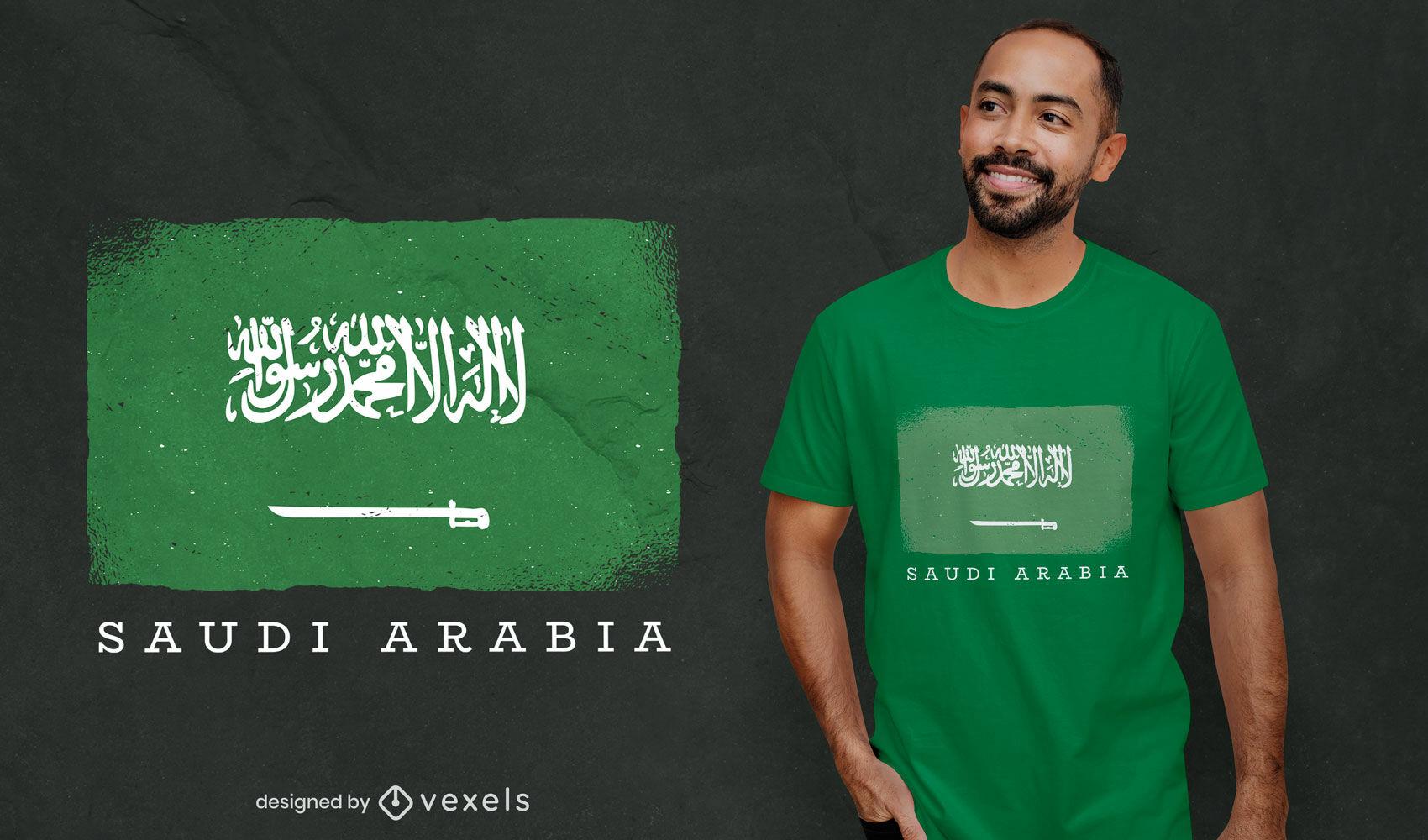 Diseño de camiseta de la bandera del país de Arabia Saudita