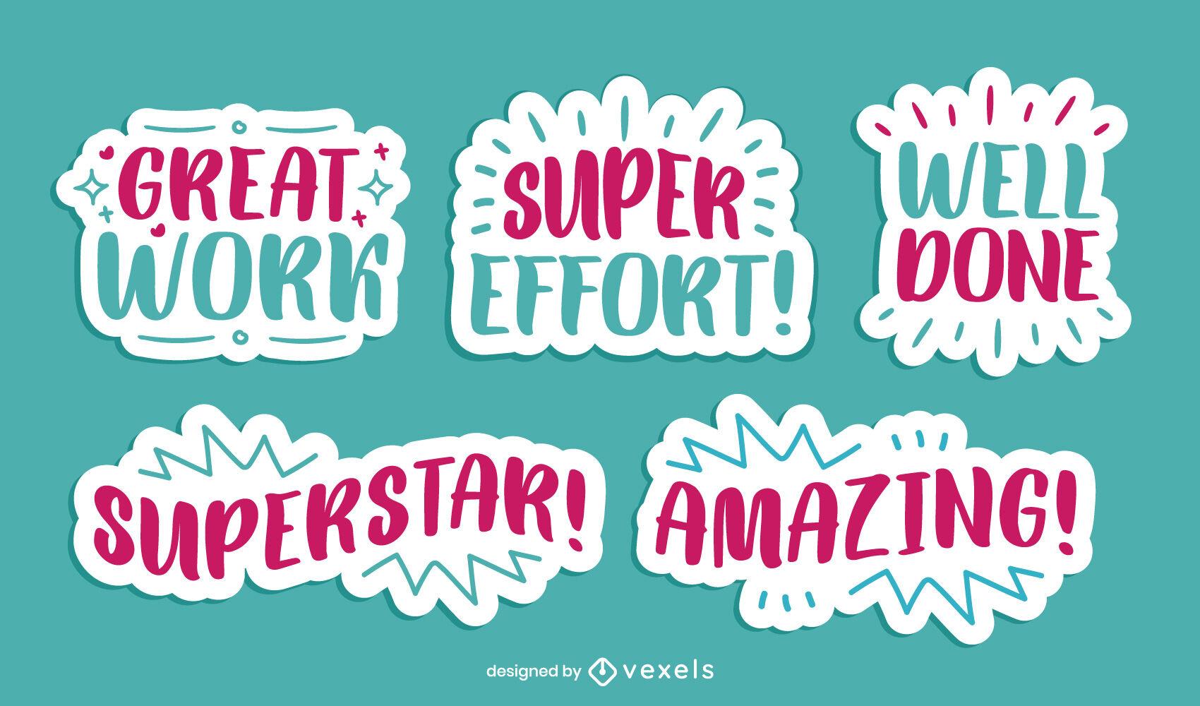 Motivational positive quotes sticker set