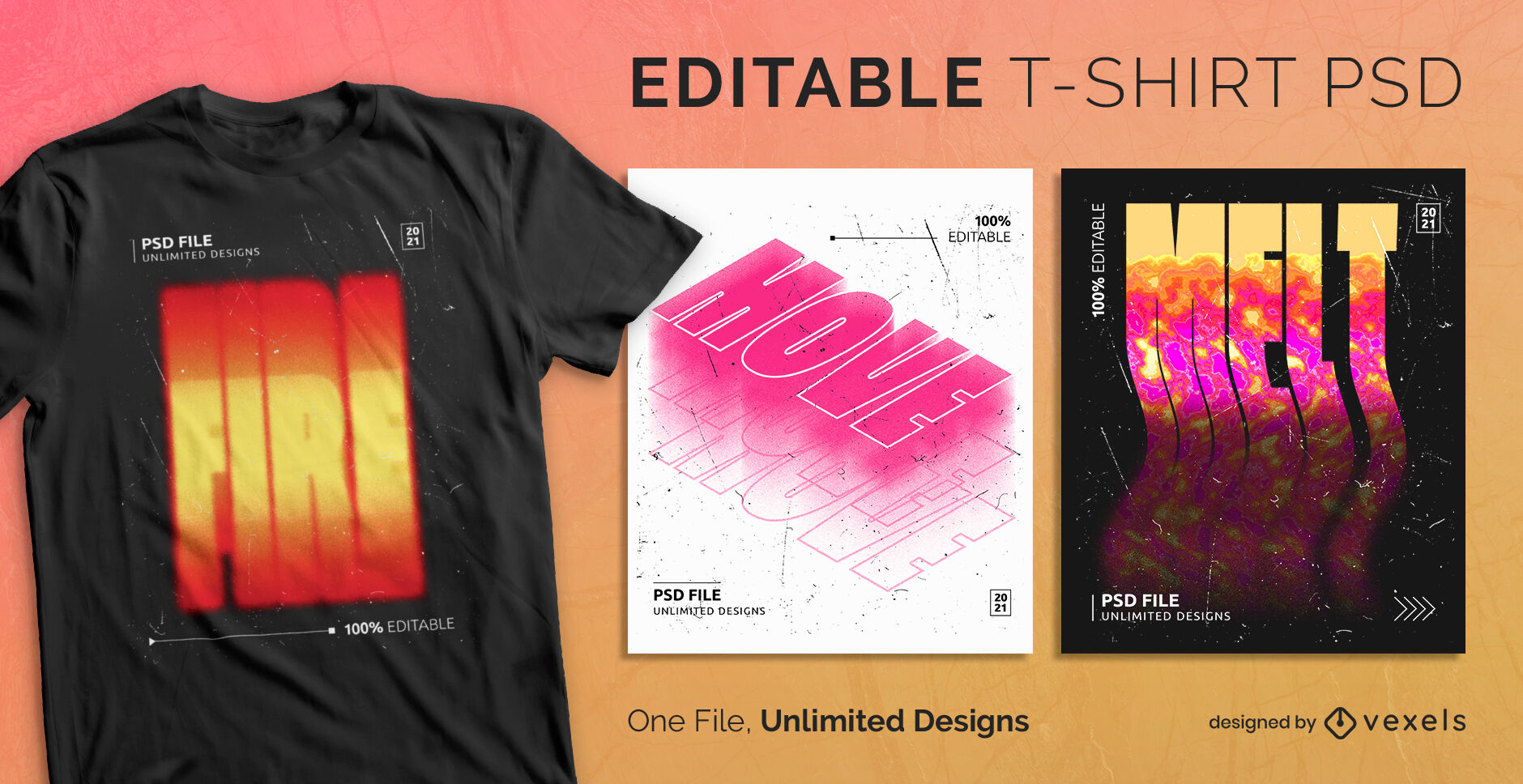 Burning gradient scalable psd t-shirt design