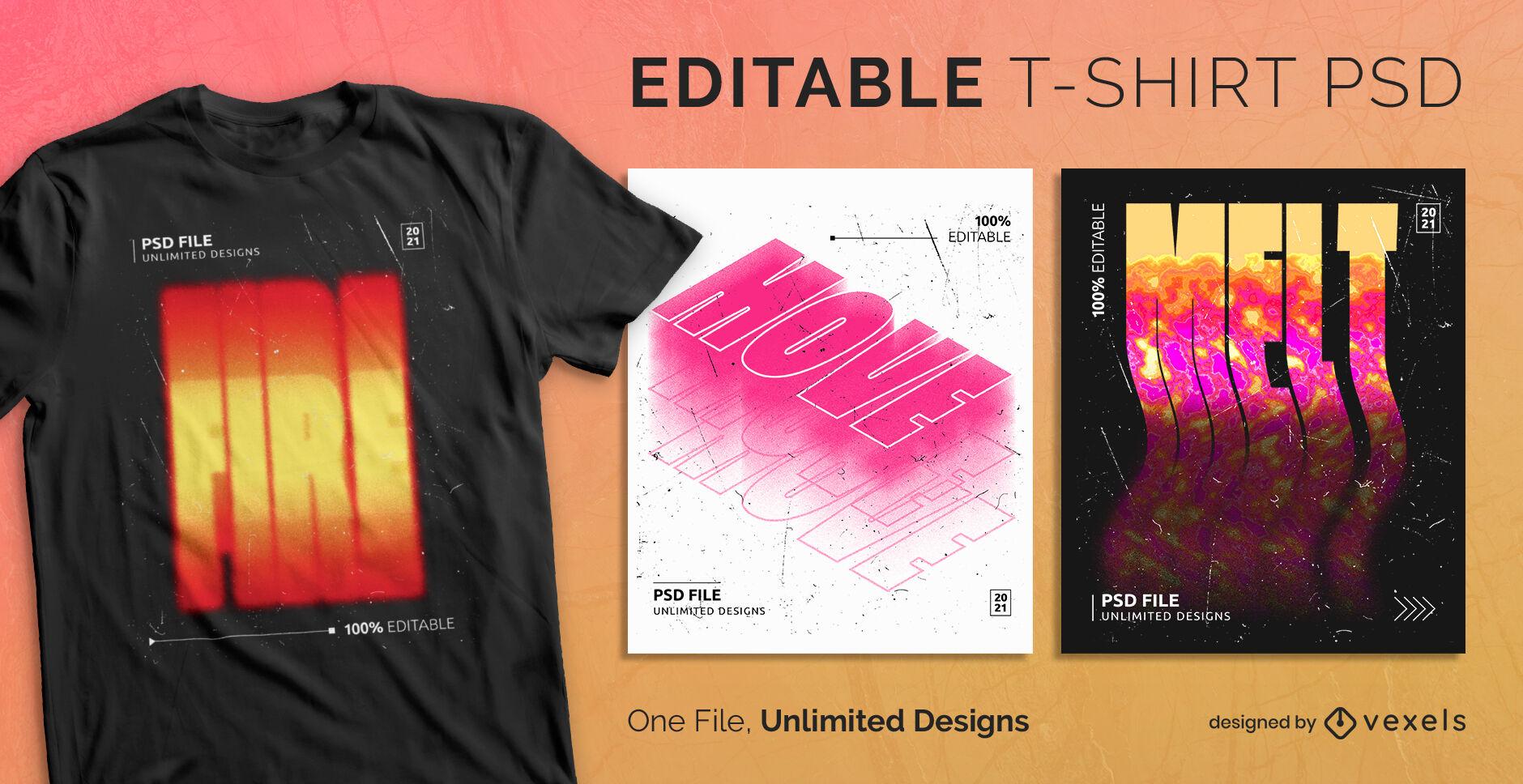 Diseño de camiseta psd escalable degradado ardiente
