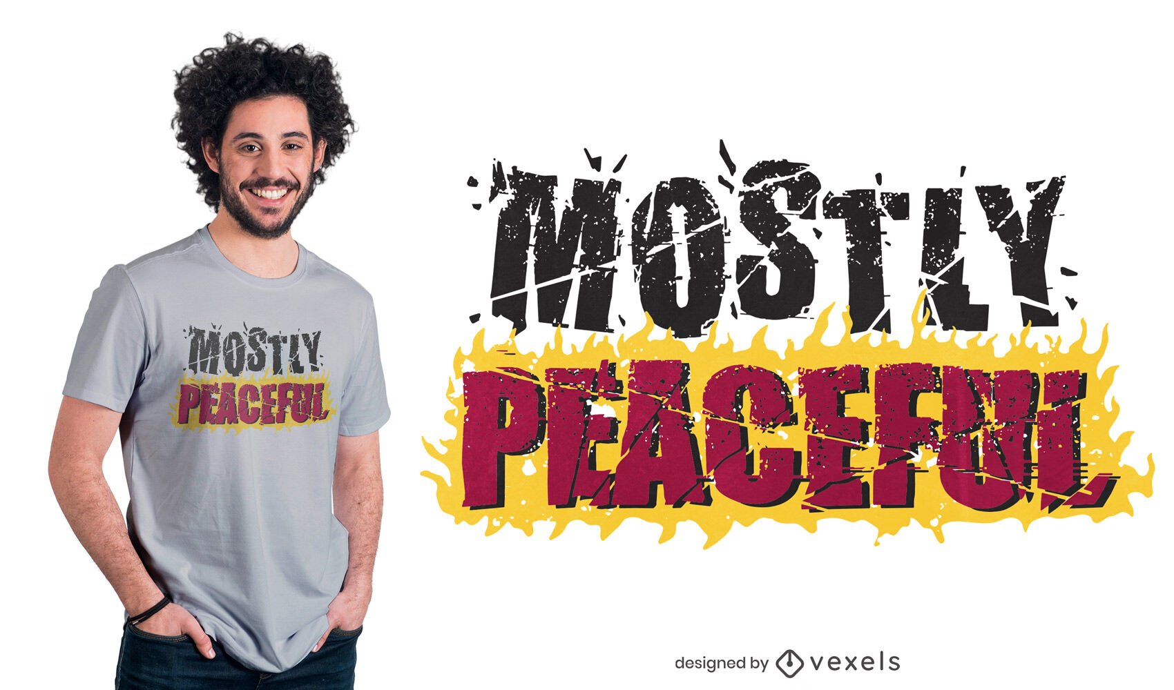 Friedliches Zitat auf Feuer-T-Shirt-Design