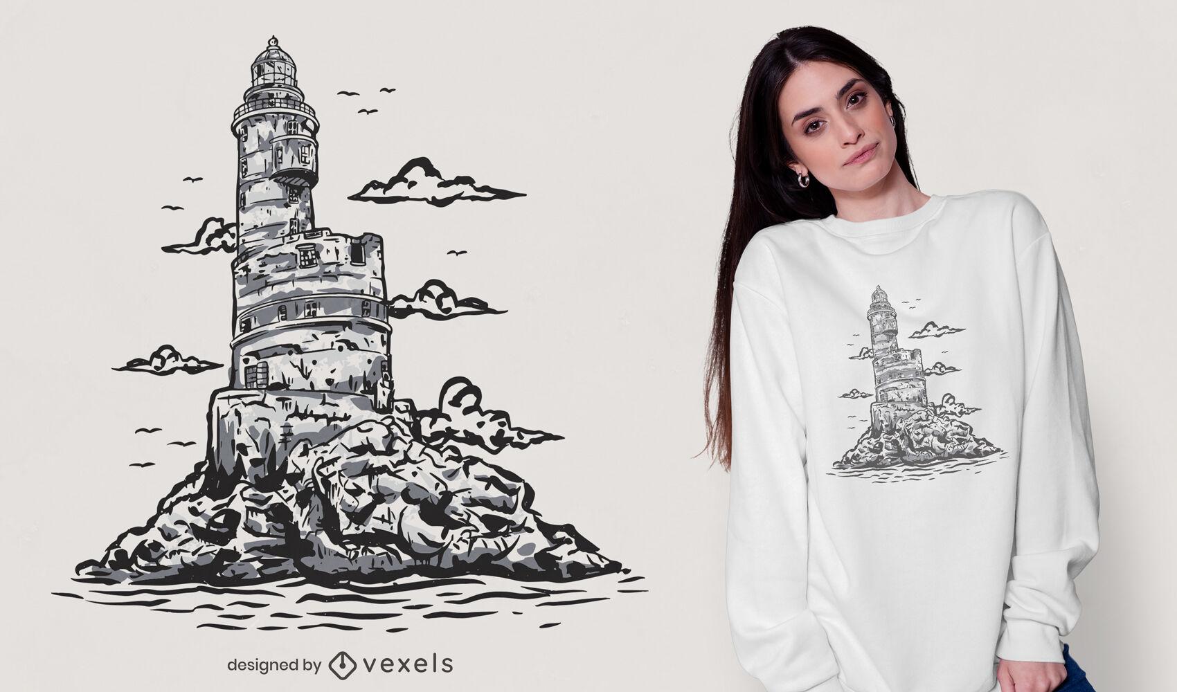 Lighthouse ocean illustration t-shirt design