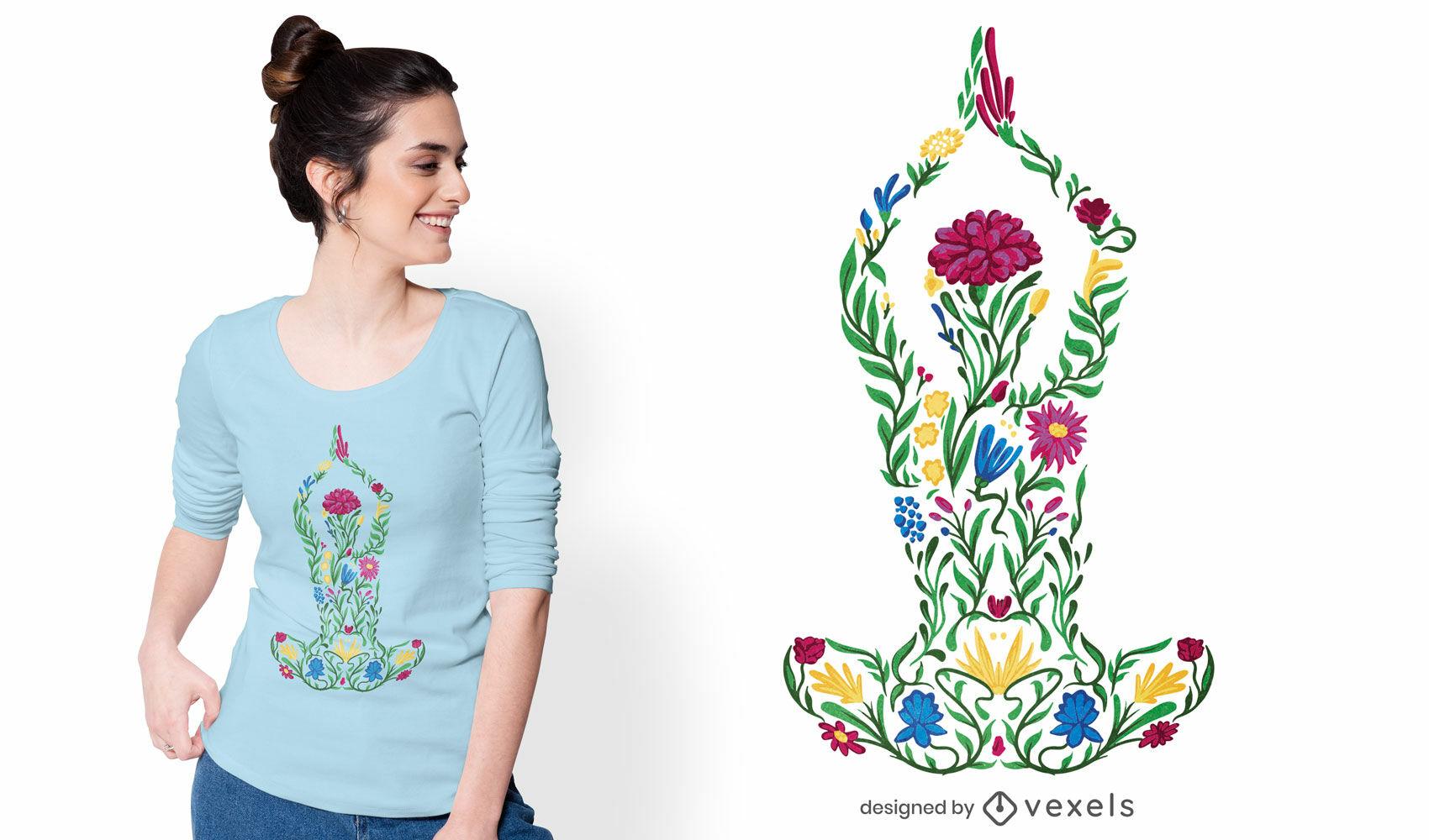 Design floral de t-shirt para pose de ioga para mulher