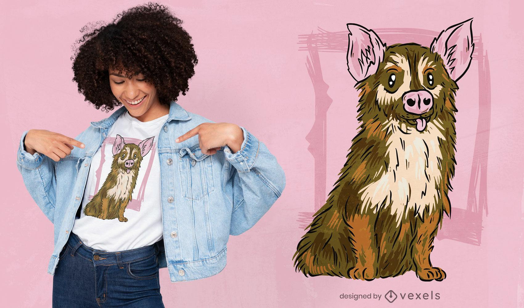 Diseño de camiseta de criatura linda de cerdo y perro.