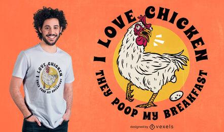 Diseño de camiseta de animal de pollo de dibujos animados