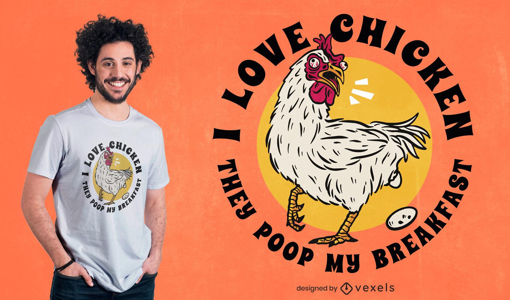 Desenho de t-shirt animal com galinha