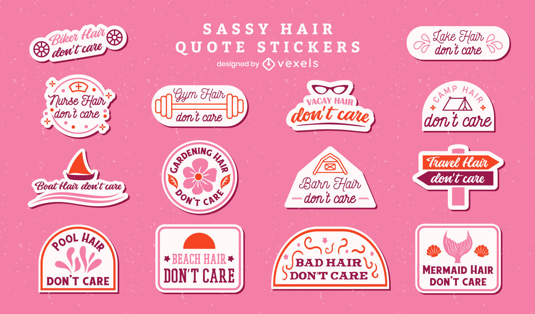 Sassy hair quotes stickers set