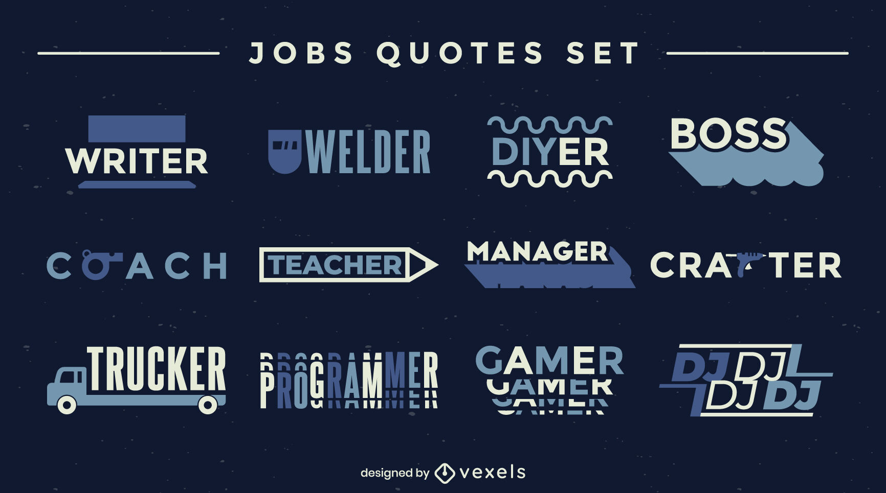 Set of jobs badges in flat style