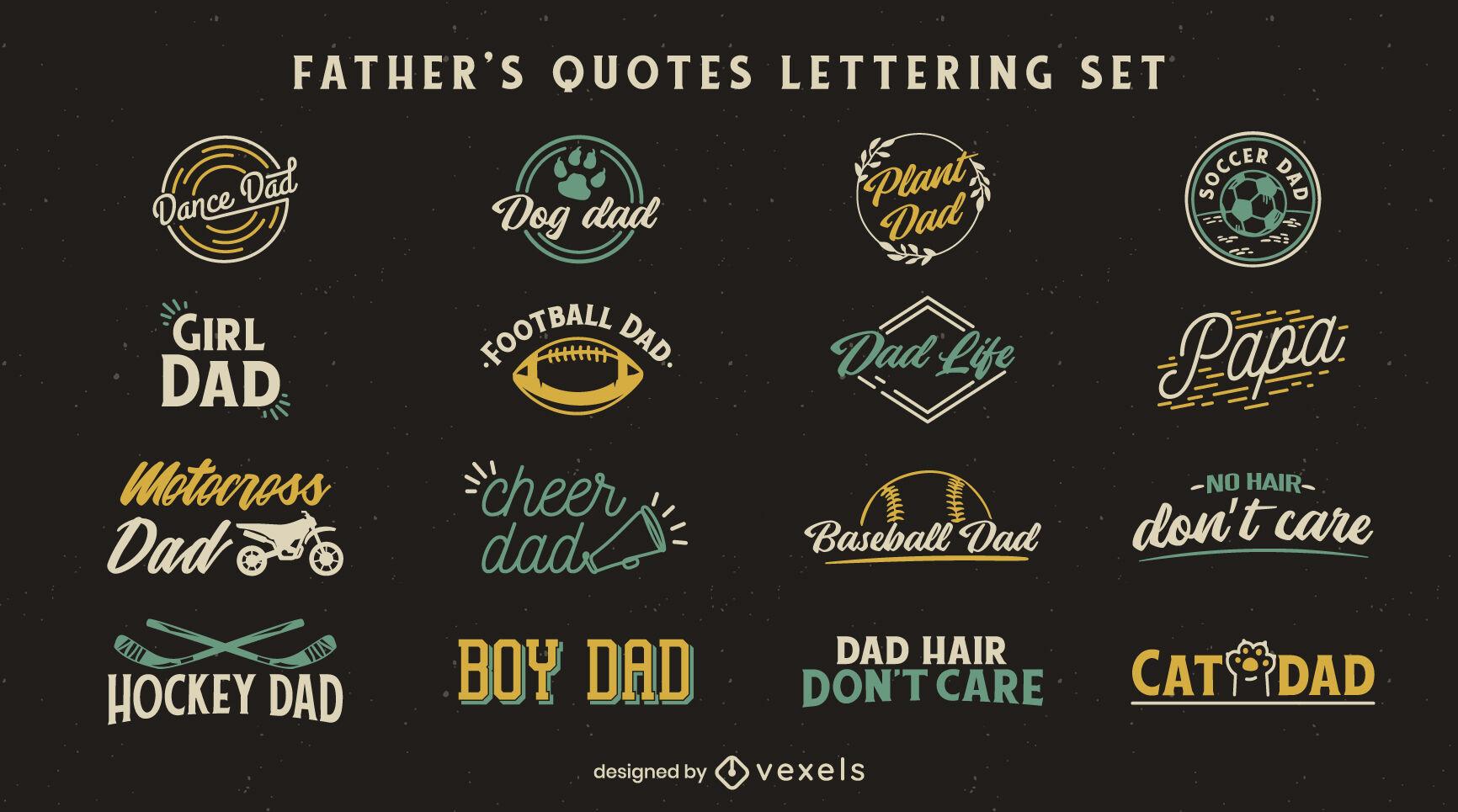 Padres citas insignias conjunto de letras