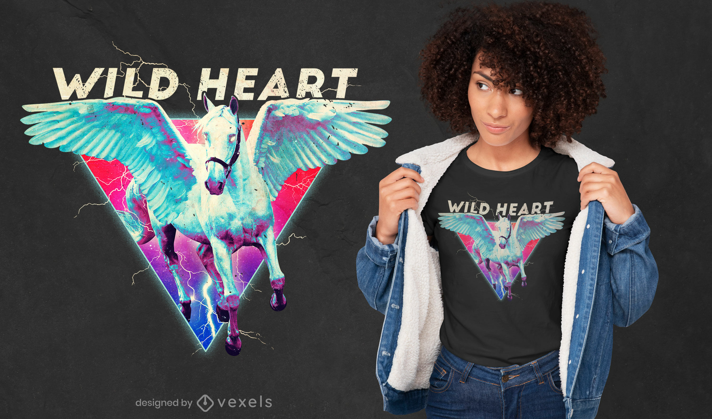 Diseño de camiseta psd retro caballo volador corazón salvaje
