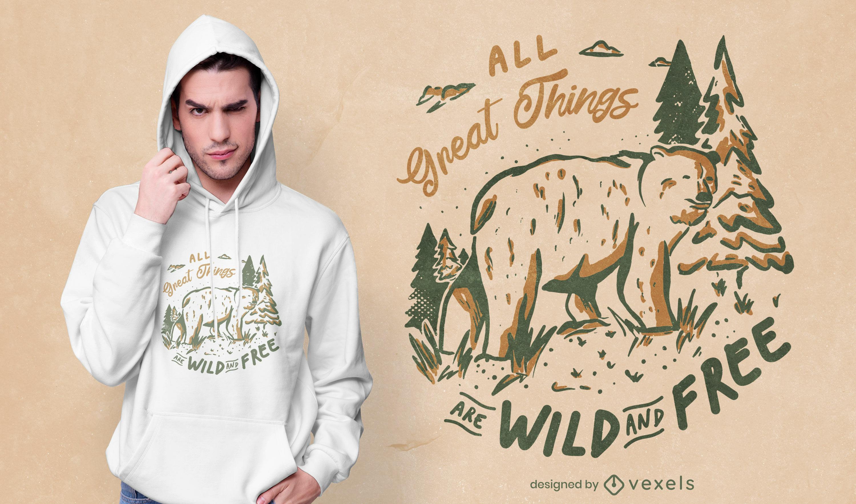 Design de t-shirt com a natureza animal do urso selvagem