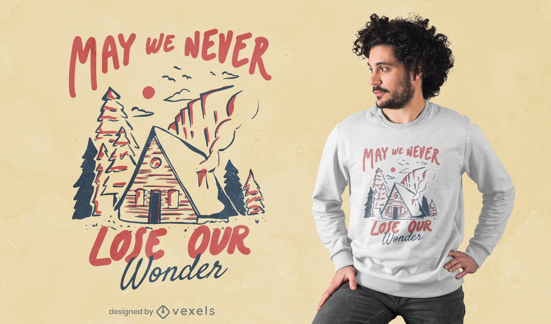 Design de t-shirt da natureza para cabine de acampamento de inverno