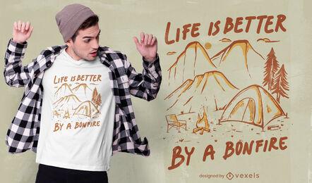 Tienda de campaña de naturaleza y diseño de camiseta de hoguera.