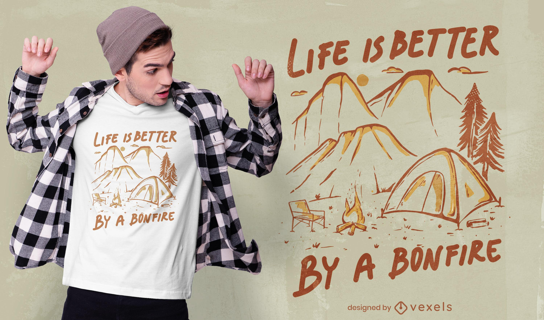 Tienda de campa?a de naturaleza y dise?o de camiseta de hoguera.