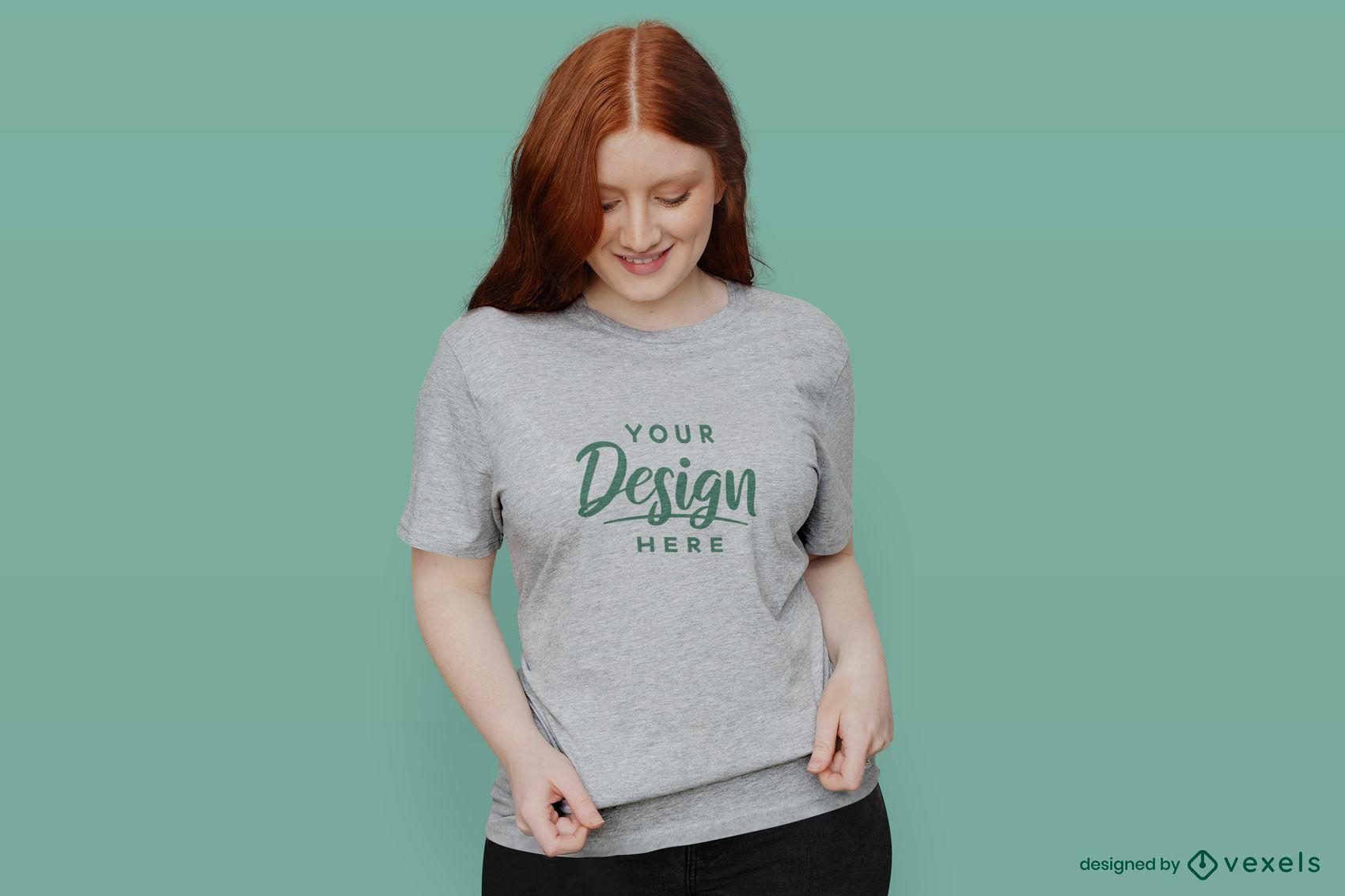 Girl in grey t-shirt green background mockup