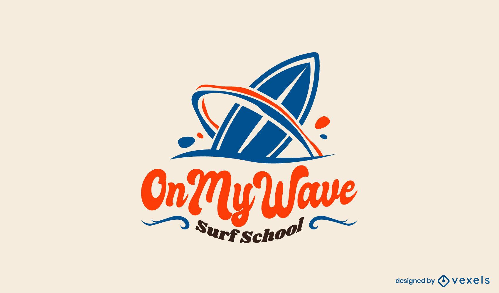 Modelo de logotipo de onda de prancha de surfe