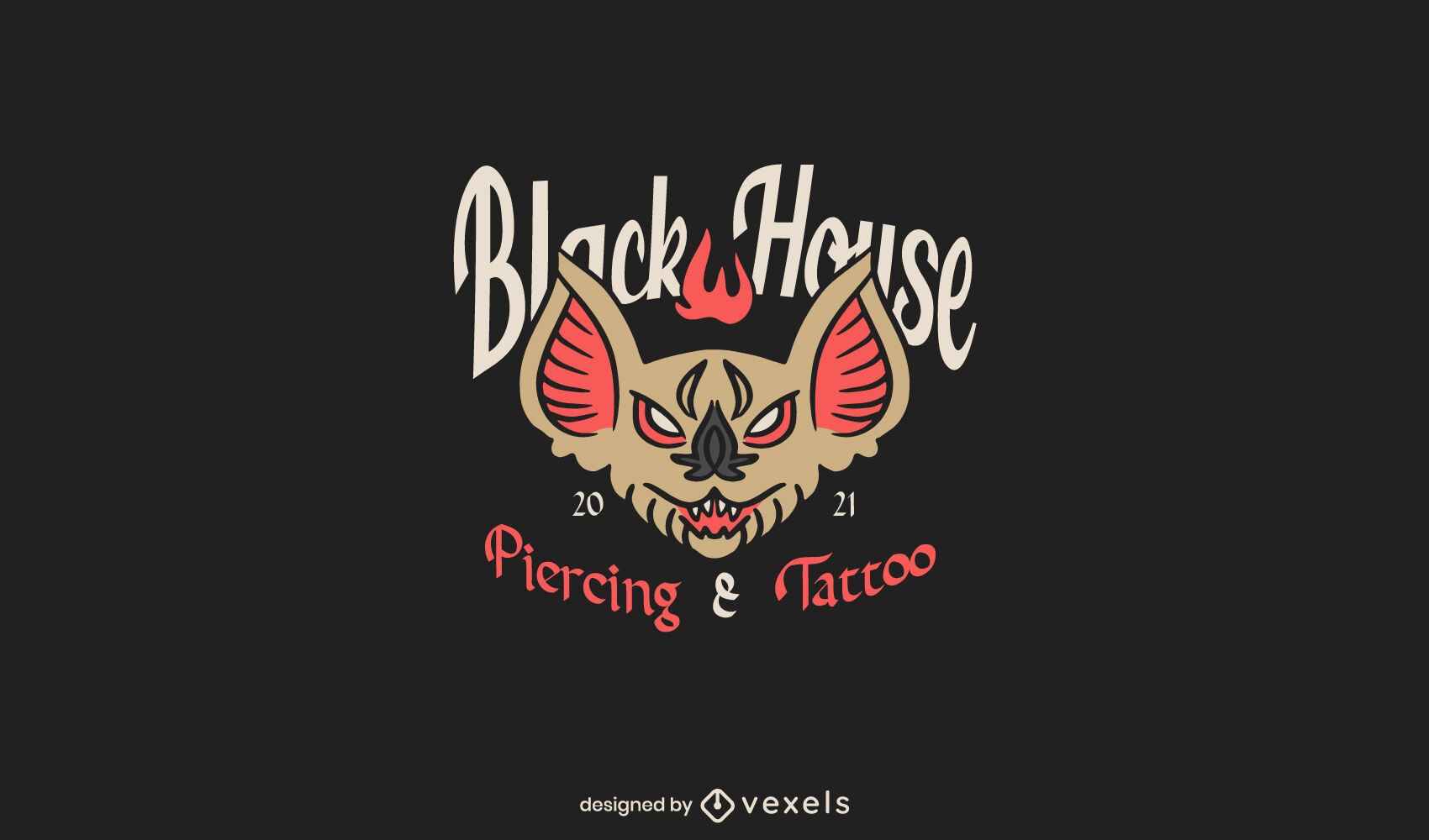 Fledermaus Tattoo Logo Vorlage
