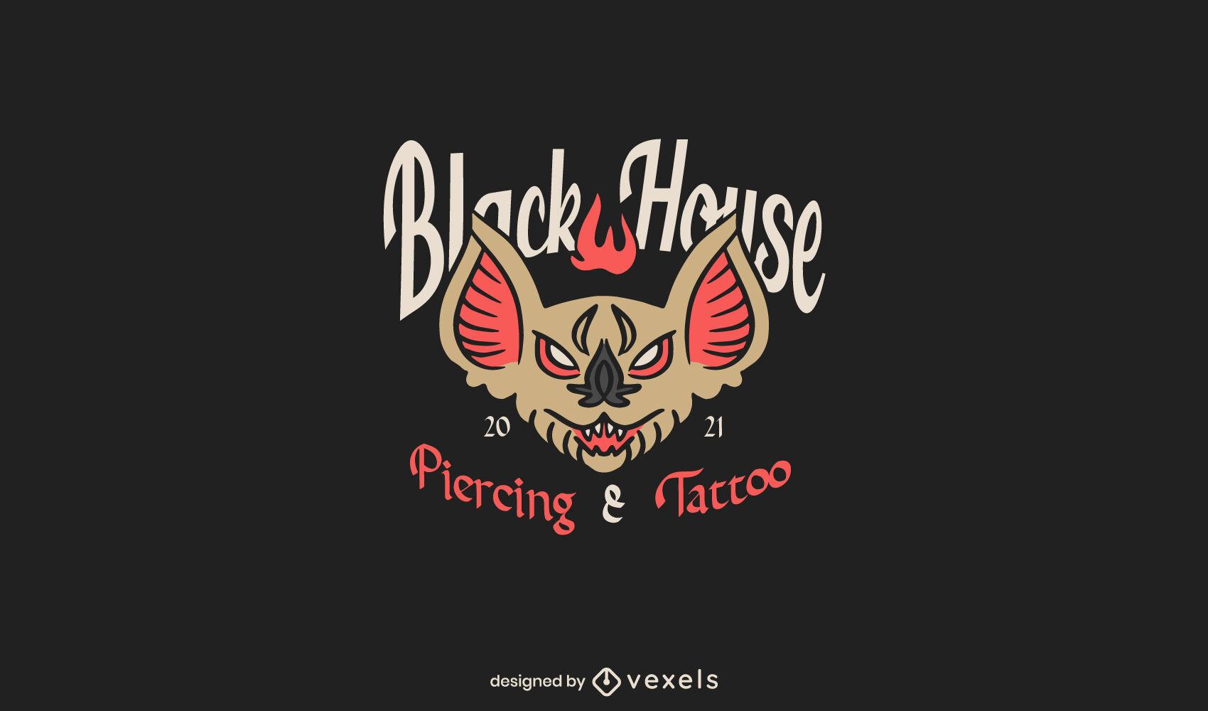 Modelo de logotipo de tatuagem de morcego