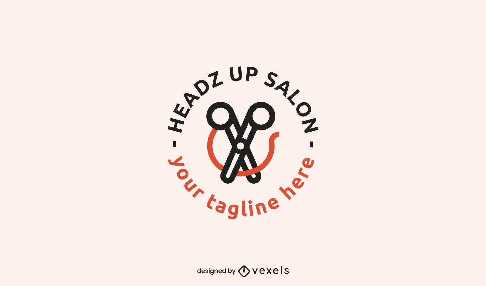 Scissors salon stroke logo template