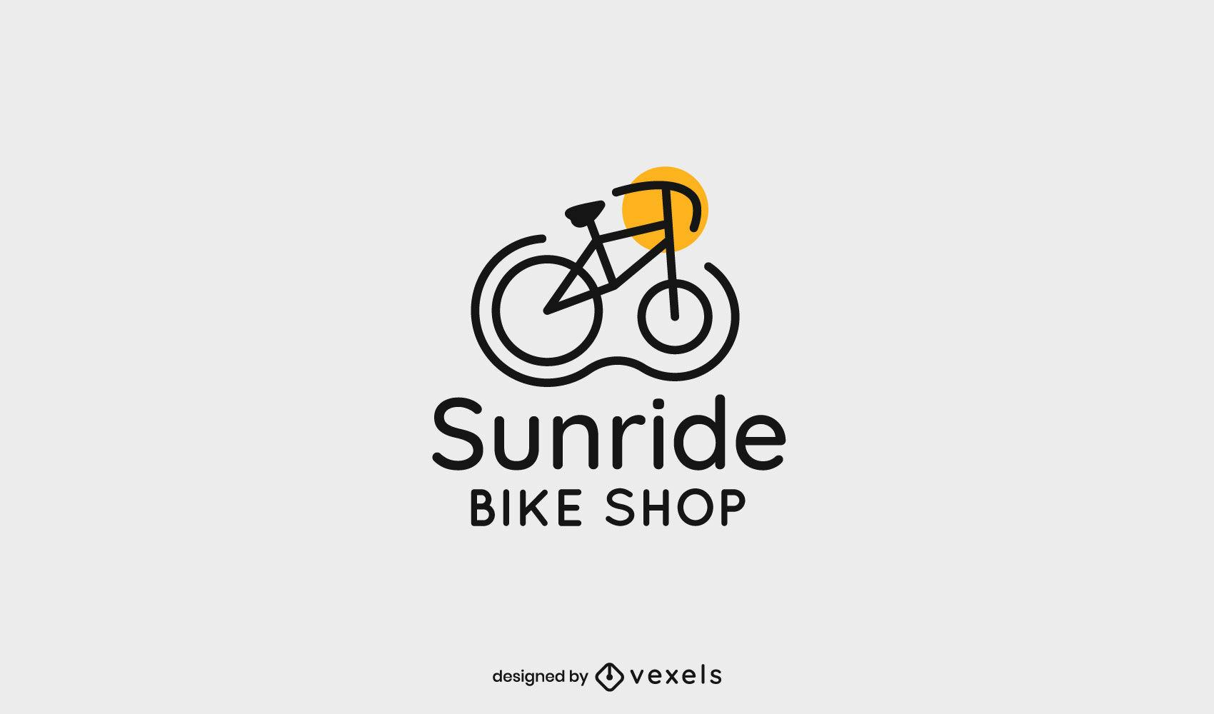 Bike from side stroke logo template