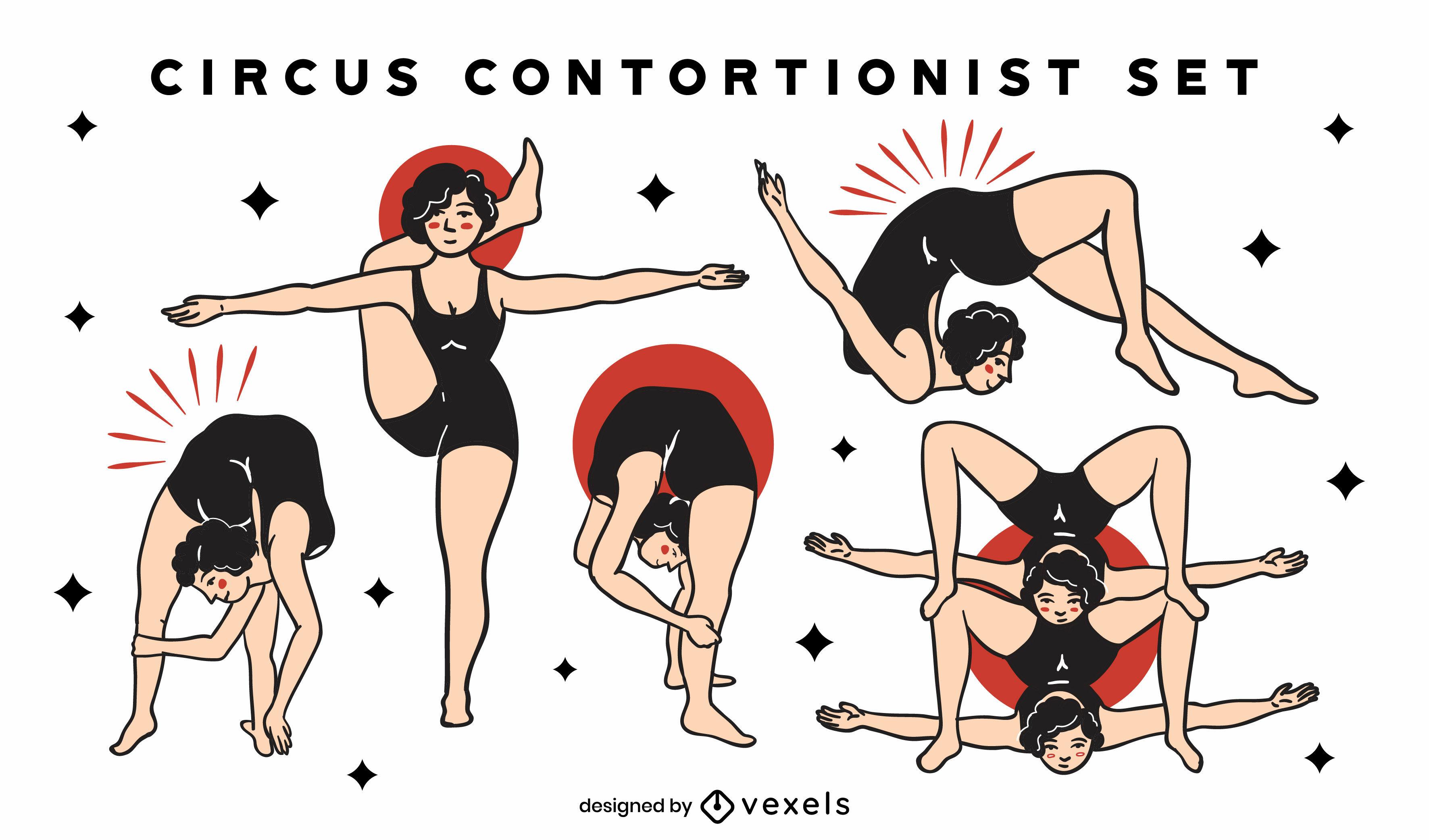 Conjunto de trazos de color de circo contorsionistas