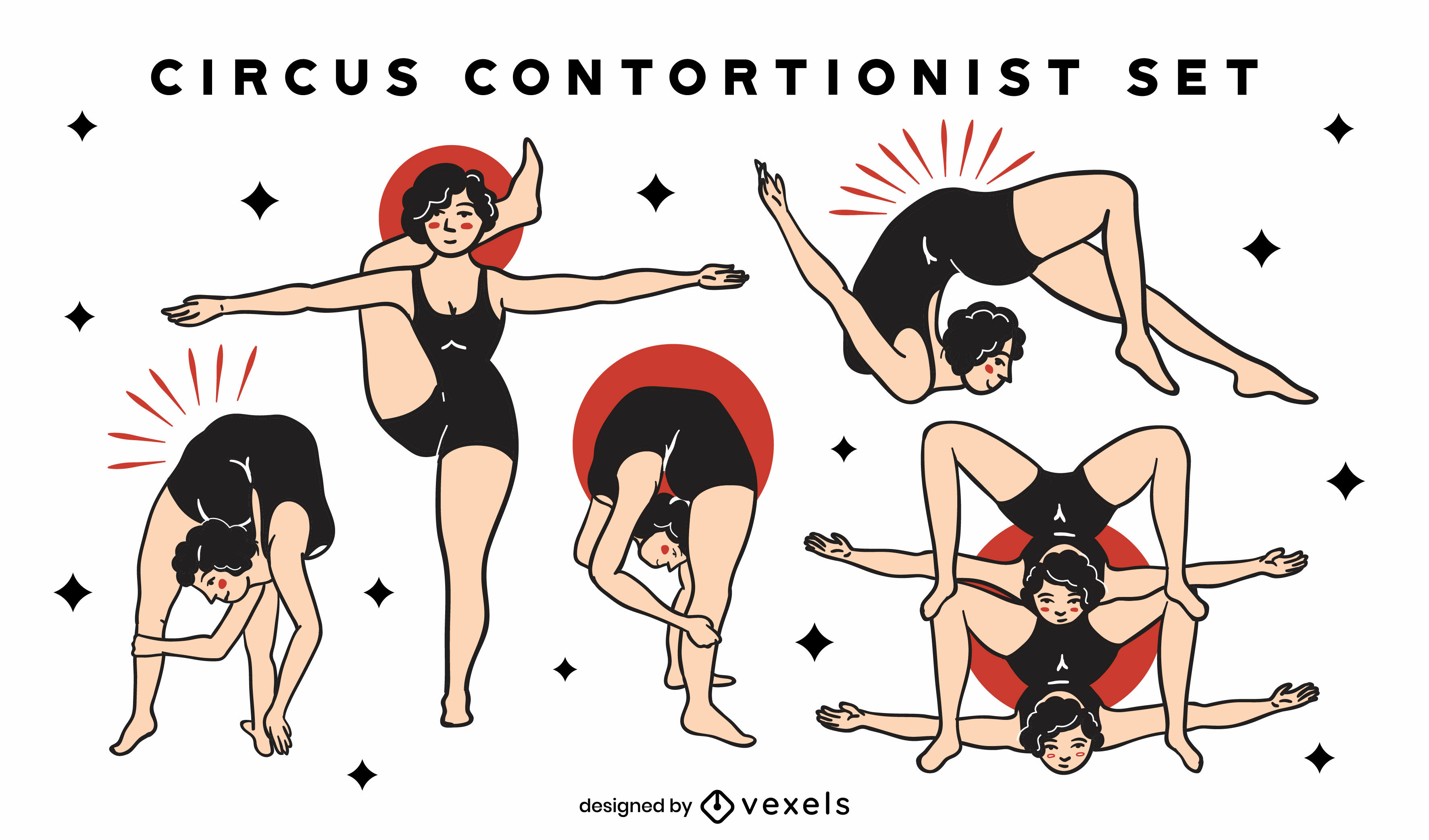 Contortionists circus color stroke set