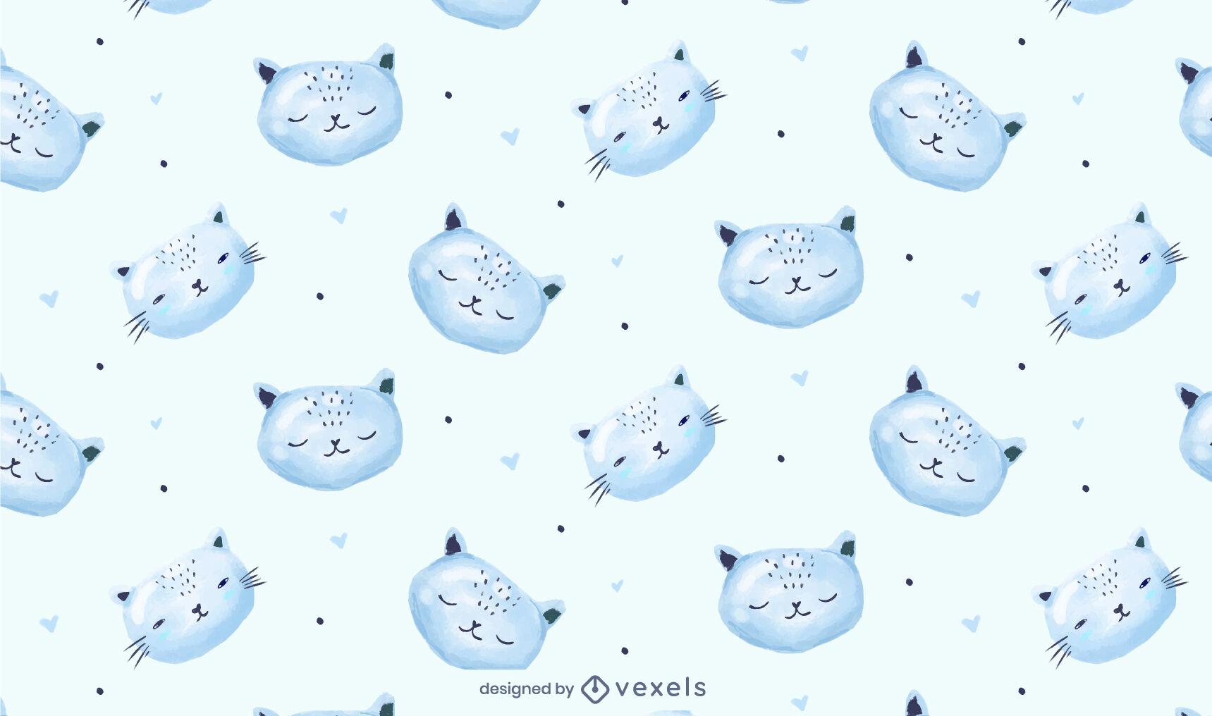 Sleeping kitty cat animal pattern design
