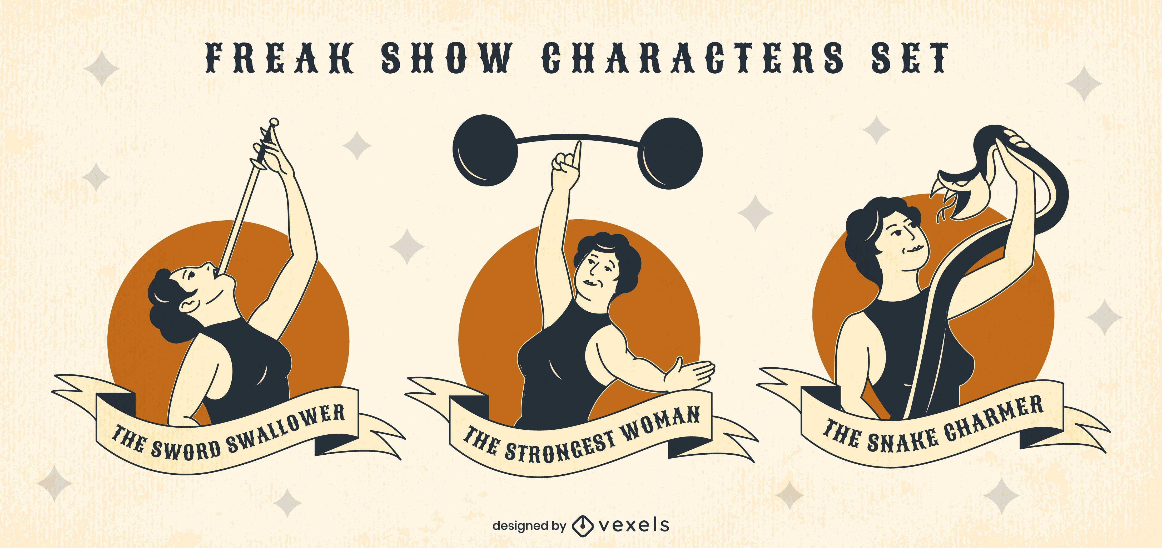 Conjunto de personagens femininos de show de horrores