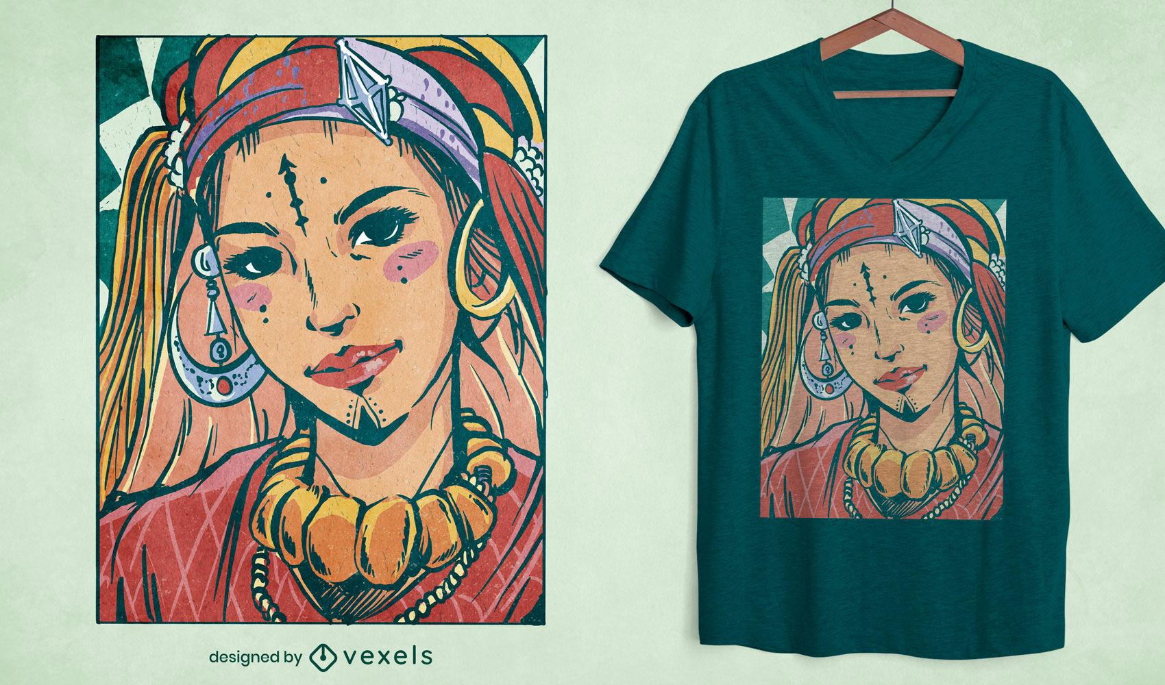 Diseño de camiseta de ilustración de retrato de niña bereber