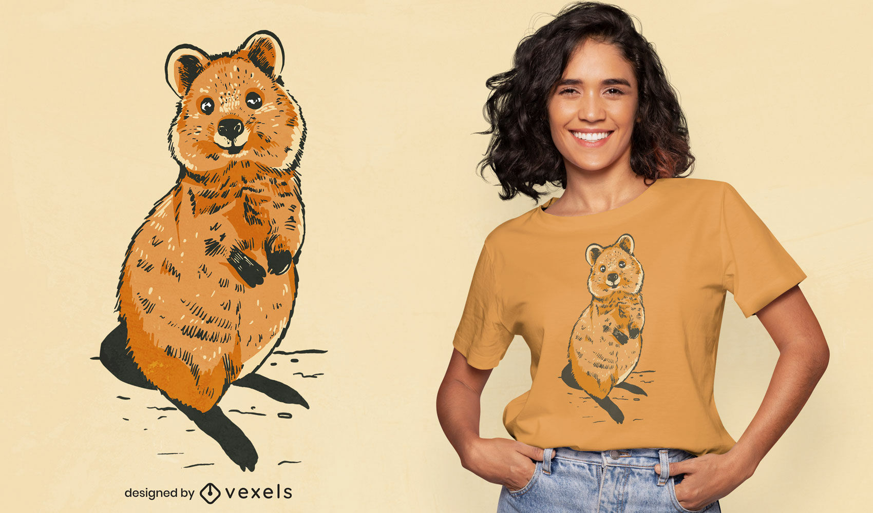 Dise?o de camiseta de animal realista Quokka.