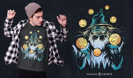 Wizard juggling planets t-shirt design