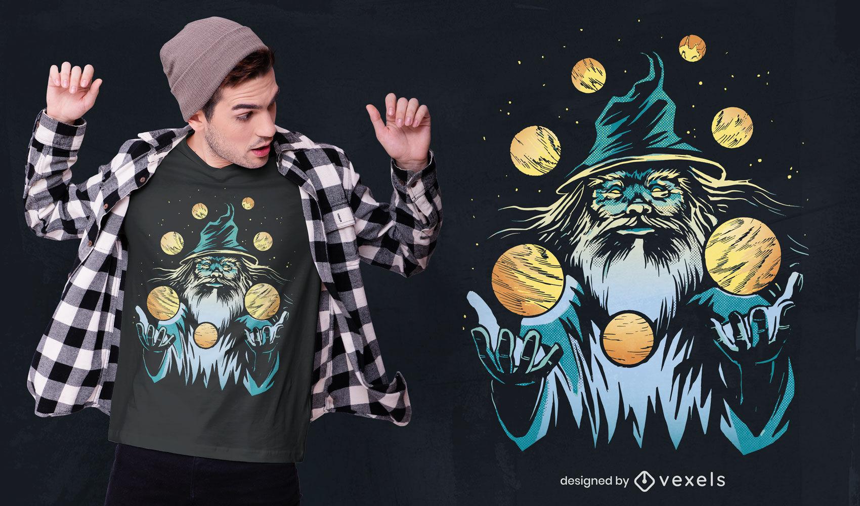 Mágico fazendo malabarismo com design de camiseta de planetas