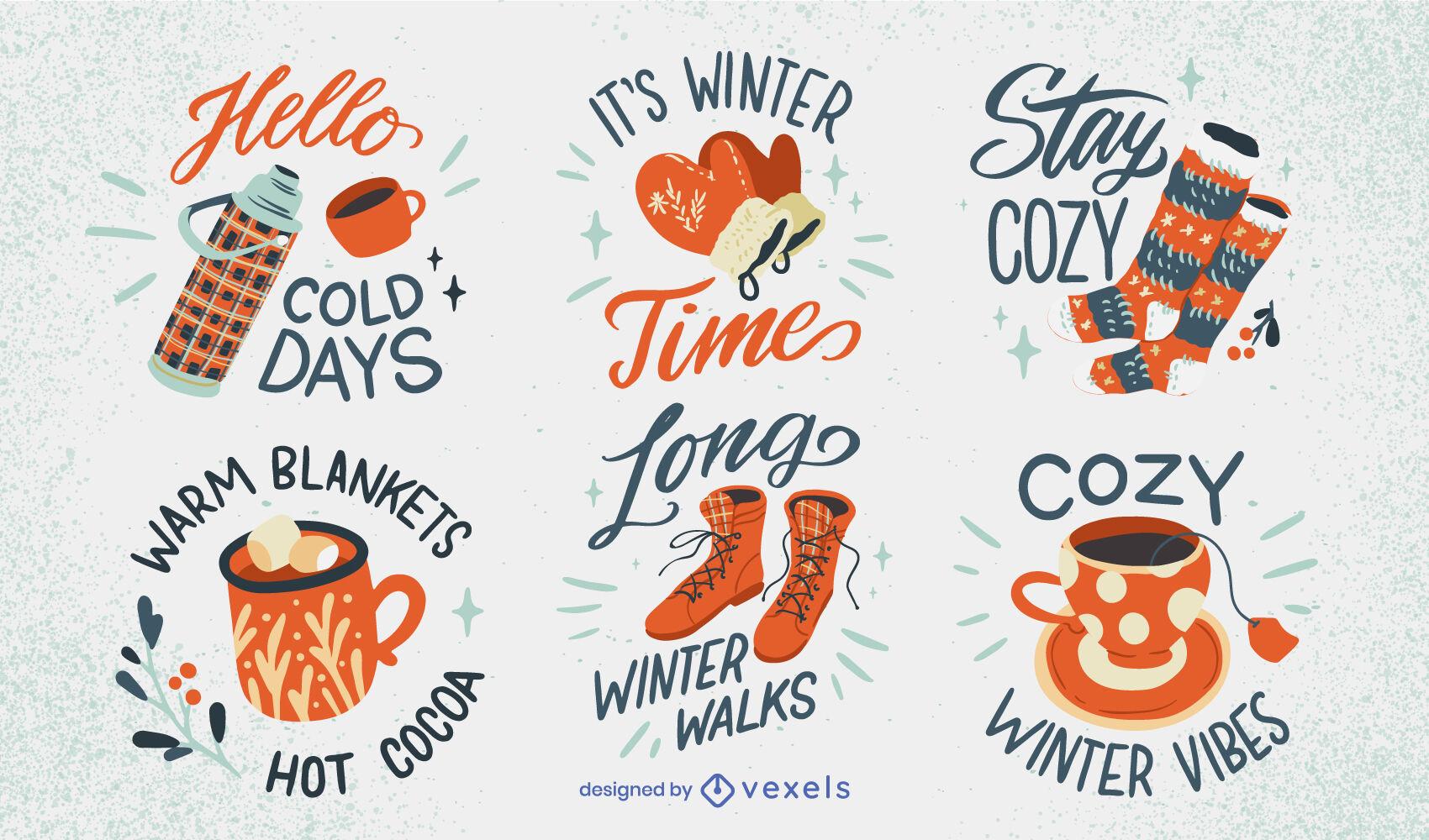 Conjunto de insignias de elementos cálidos y acogedores de invierno