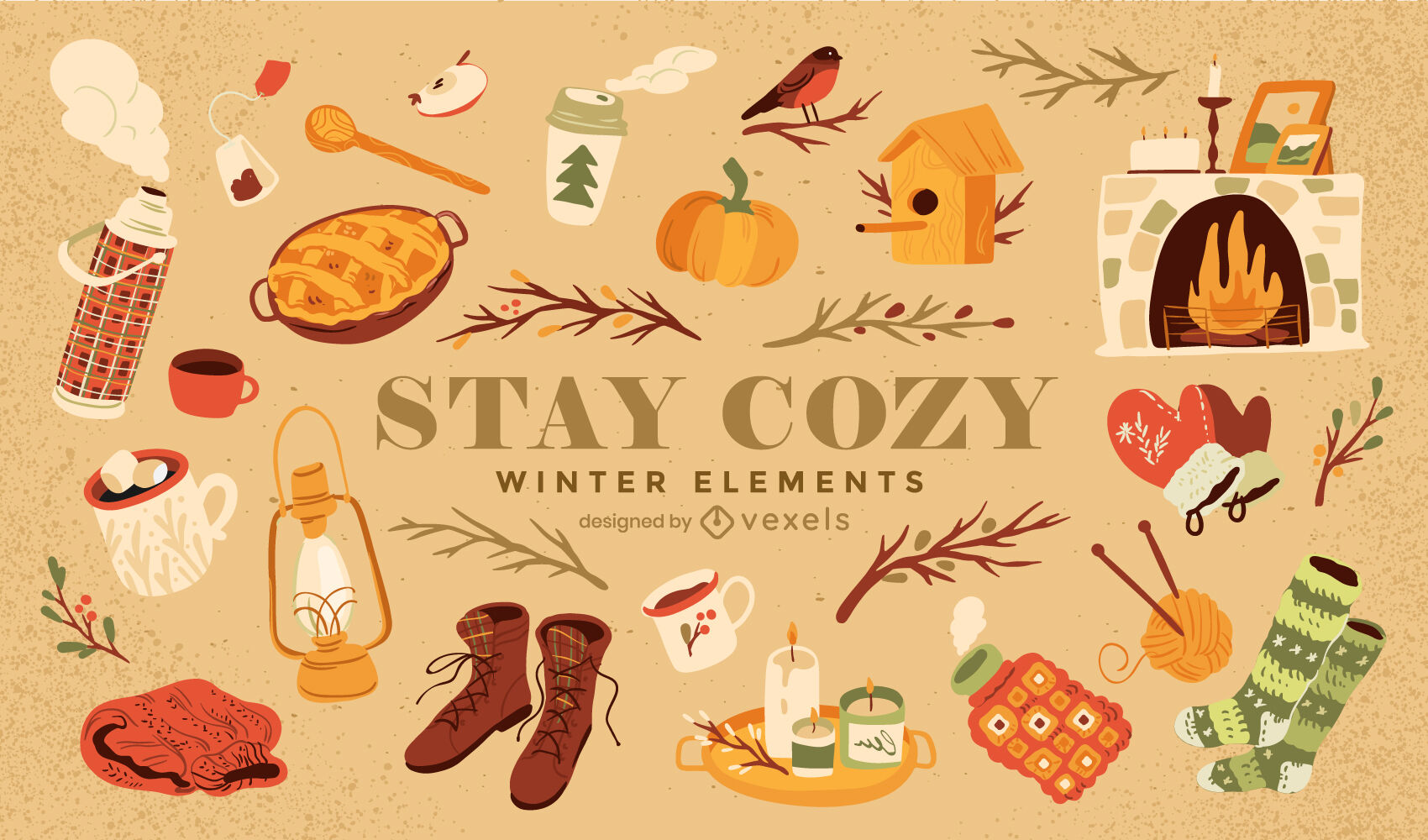 Winter season cozy nature elements set
