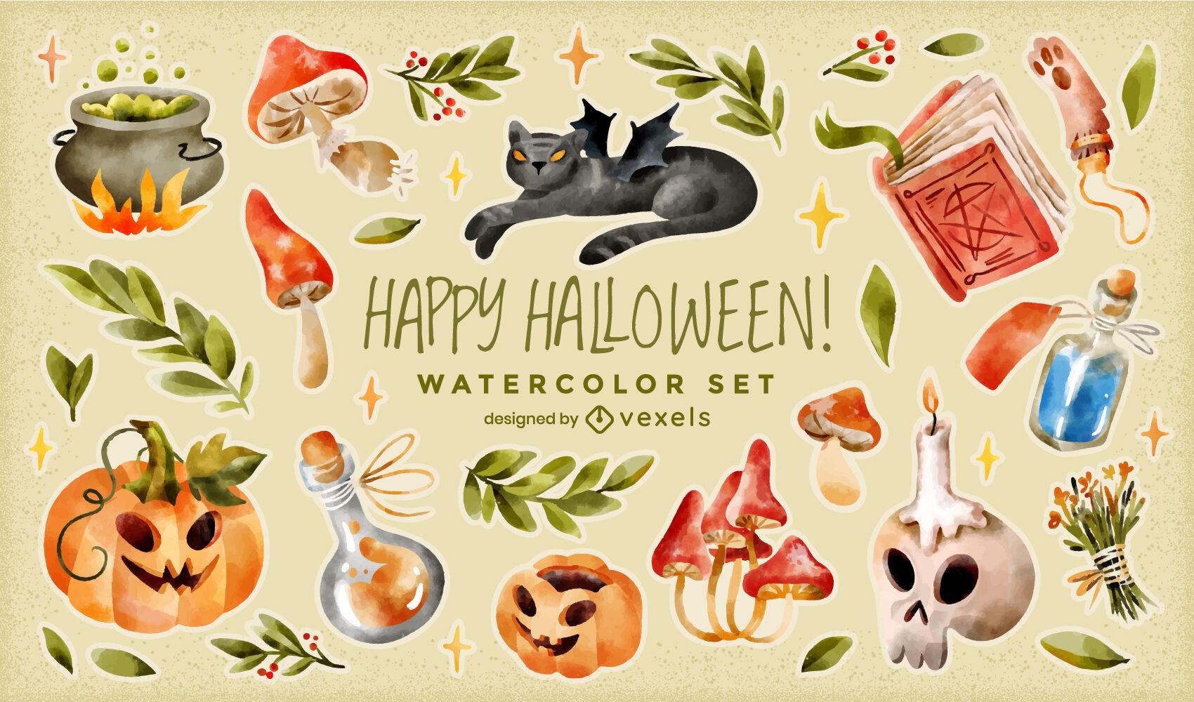 Halloween magical watercolor elements set