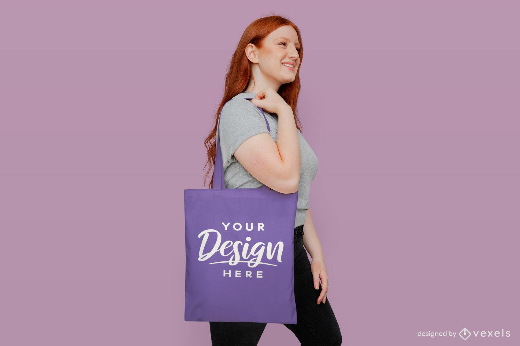 Purple tote bag girl in pink background mockup