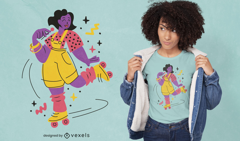 80s rollerskating girl t-shirt design