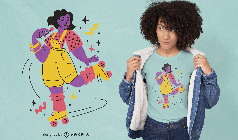 Diseño de camiseta de niña patinadora de los 80