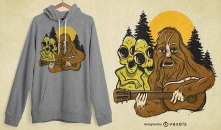Diseño de camiseta de músico bigfoot & aliens.