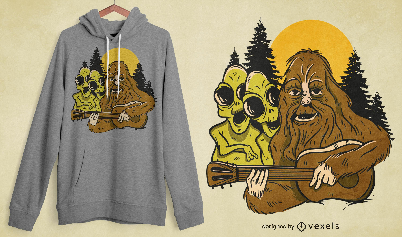 Musician bigfoot & aliens t-shirt design