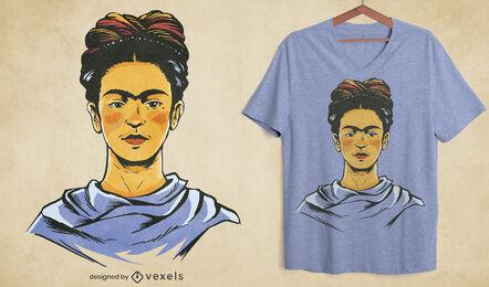 Diseño de camiseta con retrato de Frida Kahlo