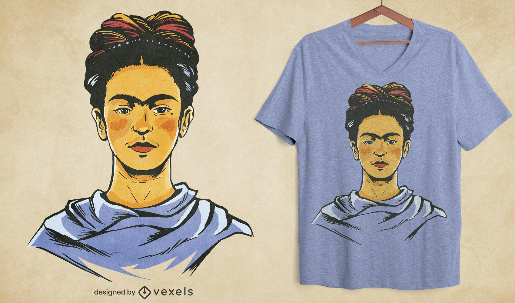 Design de t-shirt com retrato de Frida Kahlo