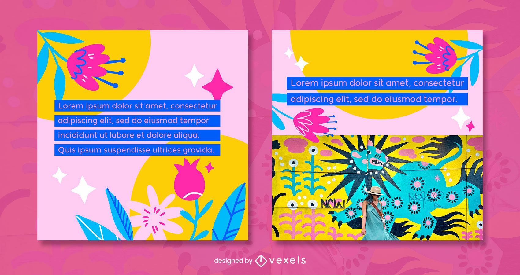 Flat colorful flowers instragram post template