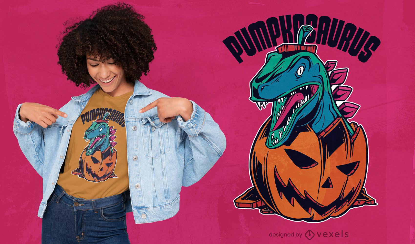 Dise?o de camiseta de Halloween de calabaza de dinosaurio.