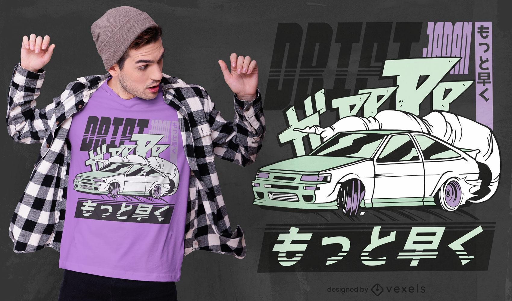 Diseño de camiseta de coche japonés a la deriva.