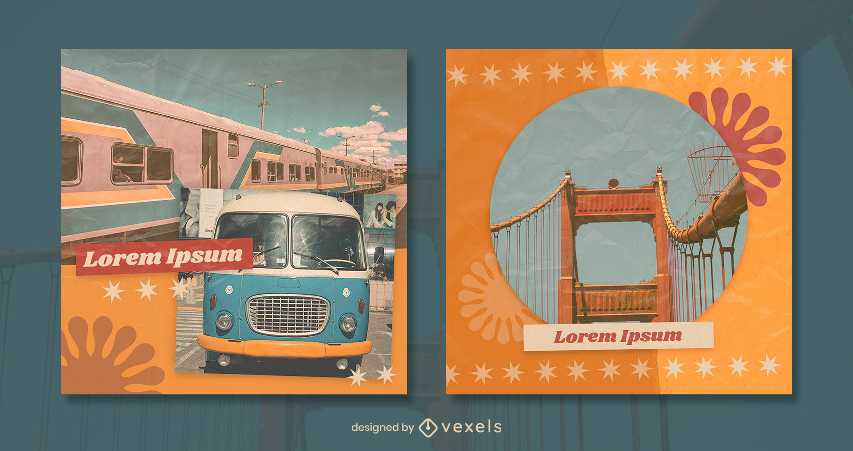 Retro texture and elements instagram post template