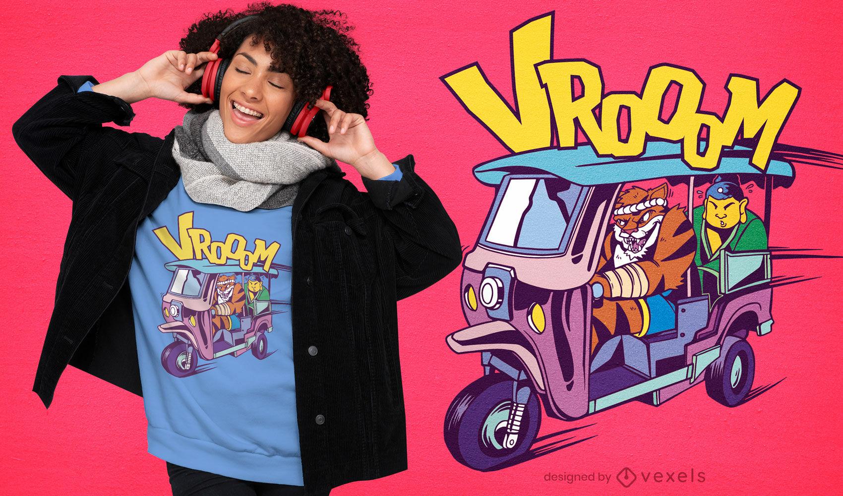 Diseño de camiseta de dibujos animados de personajes de rickshaw.