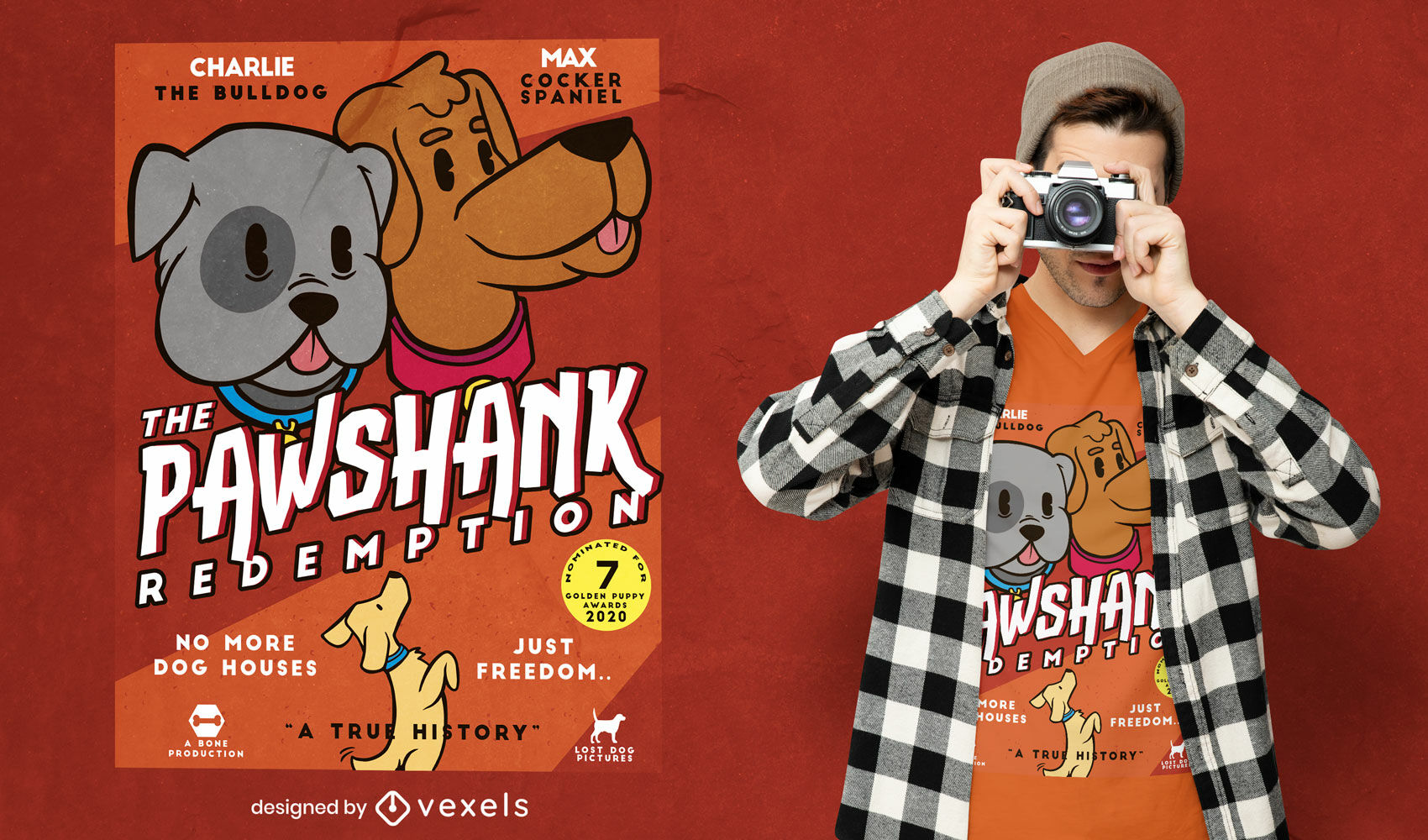 Design de camiseta de pôster de paródia de filme de cães