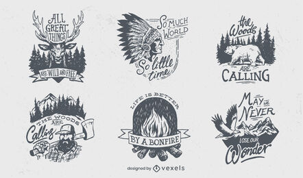 Outdoor camping life set of hand drawn badges